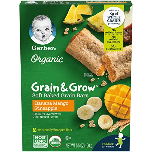 Gerber Up Age Organic Grain & Grow Soft Baked Grain Bars Banana Mango  Pineapple, 8Count: Amazon.com: Grocery & Gourmet Food