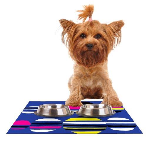 KESS InHouse Emine Ortega Retro Circles Cobalt Feeding Mat for Pet Bowl, 18 by - Dog Retro Placemat