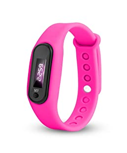 2019 Angebot Laufschritt Liebhaber Uhr, Minshao Armband Schrittzähler Kalorienzähler Digital LED Fußweg EIN gutes Geschenk (Hot Pink)