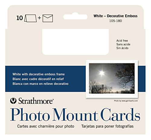 (Strathmore Photo Mount Cards and Envelopes White Embossed Package Of 10, 5 x 6.875 Inch)