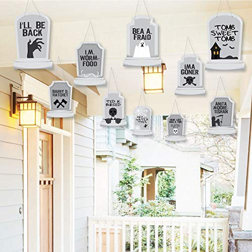 Hanging Graveyard Tombstones - Outdoor Halloween Party Hanging Porch & Tree Yard Decorations - 10 -