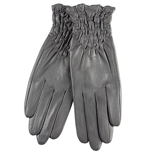2015 New Medival Gothic Genuine Leather Ruched Wrist Length Short Gloves by YSW GLOVES