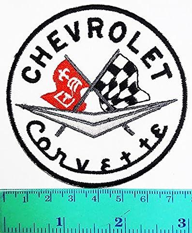 Chevrolet Corvette High performance sports car Logo Patch Sew Iron on Jacket Cap Vest Badge Sign (Corvette Logo Sign)