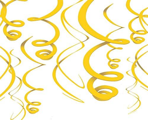Yellow Hanging Swirl Decorations (12ct) -