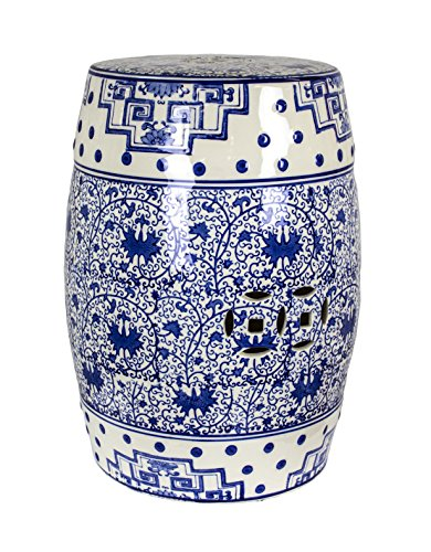 Sagebrook Home Sagebrook Home-Ceramic Garden Stool, Blue/White, 12.5
