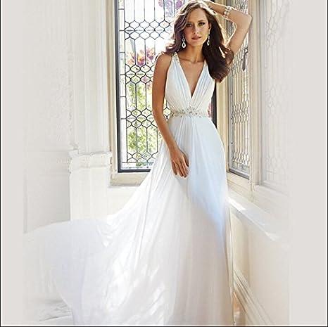 AIU la Europa halter profundo cuello en v Princess Bride pequeño-Cola novia Pronovias 2016 otoño nuevo blanco blanco Talla:XXL: Amazon.es: Deportes y aire ...