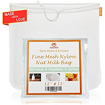 """Nut Milk Bag - Best 12""""X12"""" Commercial Grade - Reusable Almond Milk Bag & All Purpose Food Strainer - Fine Mesh Nylon Cheesecloth & Cold Brew Coffee Filter - Almond Nut Milk Recipes Included(1 Pack)"""