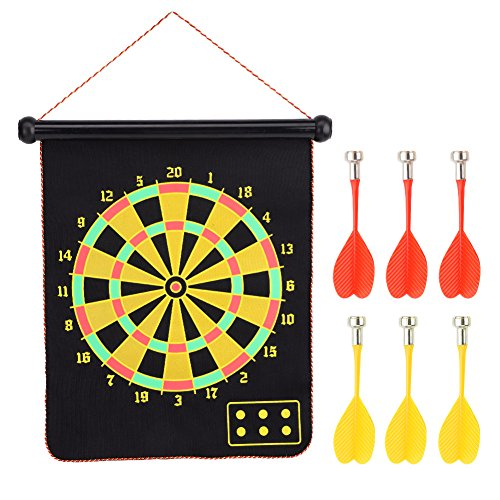 Vbestlife Roll-up Magnetic Dartboards Set 15inch Double-sided Wall Hanging Dart Board with 6 Safety Darts for Kids, Children, Adults, Office & Game Room ()