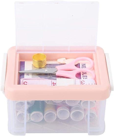 Cesta de costura de doble capa Artesan/ía del hogar Costura Contenedores de la caja de almacenamiento Hilo artesanal Caja de almacenamiento de la aguja Organizador Tipo de tapa Bordado