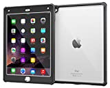 iPad Air 2 Case, Apple iPad Air 2 Clear Case, rooCASE Glacier Tough Full-body Clear Back Rugged Hybrid Protective Case Dual Layer Impact Resistant Bumper Cover with Built-in Screen Protector,  Black