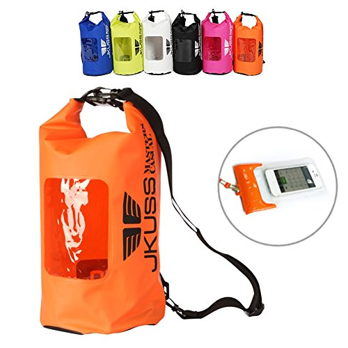 Waterproof Dry Bag Roll Top Compression Sack Clear See Through Window Panel Keeps Gear Dry for Kayaking Beach Rafting Boating Hiking Camping Fishing+Dry Phone Case (Orange)