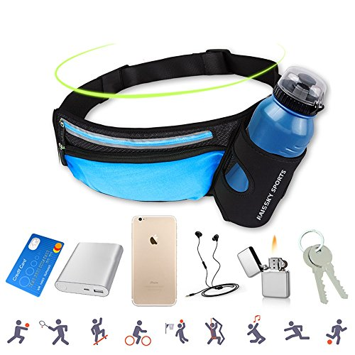 AFFLEXY Fanny Pack with Water Bottle Holder, Running Waist Bag Hiking Waist Pack Multifunctional Sports Waist Bag for Running, Hiking, Climbing, Riding and Walking