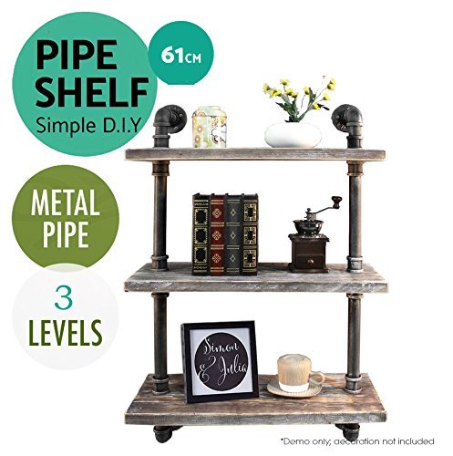 Cheap  Industrial Pipe Shelving Bookshelf Rustic Modern Wood Ladder Pipe Wall Shelf 3..