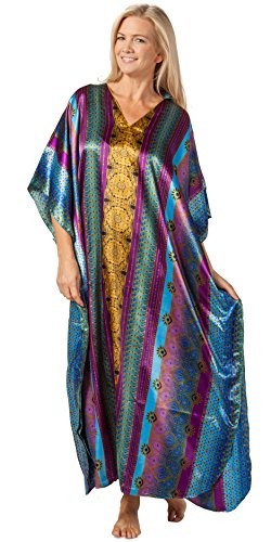 Winlar Satin Kaftans - Satin Charmeuse Caftans in Bengal Bay (One Size Fits Most, Gold/Purple/Blue) -