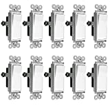 Enerlites 3-Way On/Off Rocker Light Switch 93150-White | 15 Amp, 120V/277V, Paddle, AC, Single Pole, 3 Wire, Grounding Screw, Residential Switch, UL Listed | White - 10 Pack