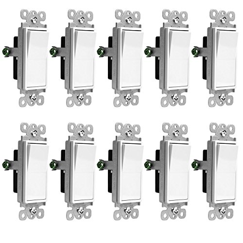 Enerlites Decorator On/Off Paddle Wall Switch 91150-W | 15 Amp, 120V/277V, AC, Single Pole, 3 Wire, Grounding Screw, Residential and Commercial Graded Light Switch, UL Listed | White - 10 Pack