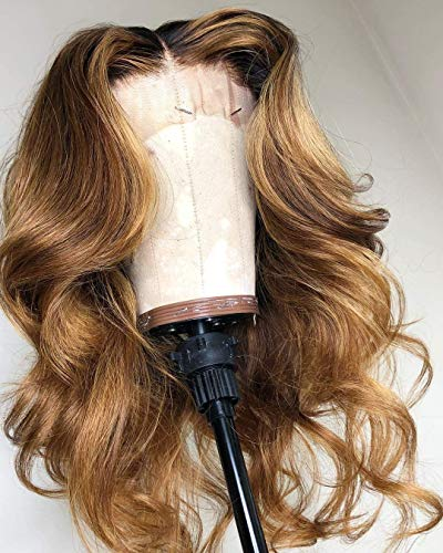 Rock Hair 13X6 Ombre Human Hair Wigs Dark Root 1B/27 Honey Blonde Lace Front Wigs for Black Women Pre Plucked Natural Hairline Body Wave Brazilin Human Hair Lace Wigs(150% density,20inch)