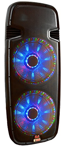 One Lighted Powered Dual 15'' DJ Speaker - 3000 Watts - Bluetooth, MP3, USB, SD, FM Radio or plug in your laptop or iPhone - Plug and Play - Light Show Included - Adkins Professional Audio - This sale is for one speaker. by Adkins Professional Audio