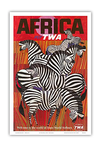 Vintage Zebra - Pacifica Island Art Africa - Trans World Airlines Fly TWA - Zebras - Vintage Airline Travel Poster by David Klein c.1960s - Master Art Print - 12in x 18in