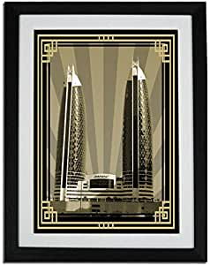 Photo of Damac Tower-Sepia With Gold Border No Text PF01-NM (A2)