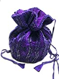 Beaded Potli Bag Handmade Indian Party Wedding Drawstring Pouch Purse (purple)