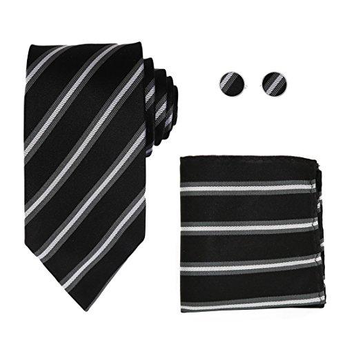 Y&G H8049 Black Luxury Grey Silver Striped Business- Casual Gift Silk Tie Cufflinks Hanky Set -