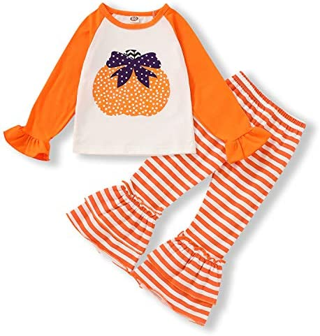 Halloween Outfits Toddler Baby Girl Pants Sets Pumpkin Long Sleeve Ruffle Top + Stripe Flared Pants Fall Clothes 1-5T
