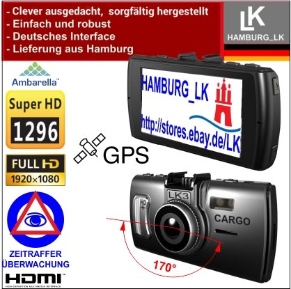 LK3 Cargo GPS - 2 K Super HD Videocámara Dashcam: con la nueva tecnología Ambarella A7 Processor + 170 ° de ángulo de visión: ángulo amplio de lente ...