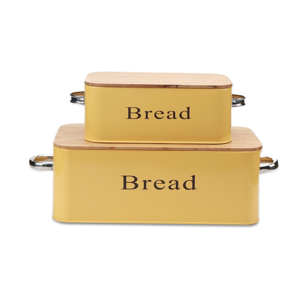 Yellow Vintage X559 Set of 2 Metal Bread box/Bin With Bamboo Lid KL X559+665