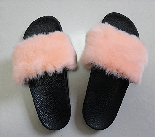 for Slides Fashion Soft Black qmfur Real Slippers Shoes Rabbit Women Fur Girls Flat Summer Pink 7aYZF