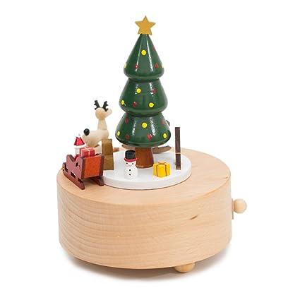 Kenor Árbol de Navidad Caja Musical Cajas De Música De Madera Presente De Navidad Regalo Decoración