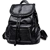 2017 cute small washed leather black mini women backpack purse women leather backpack cheap drawstring backpack (small)