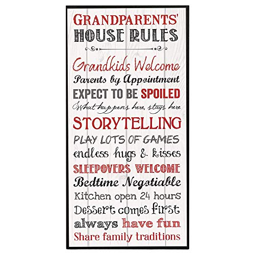 P. Graham Dunn Grandparents House Rules 12 x 6 Mounted Print Decorative Wall Art Sign Plaque (Home Decor For Grandma)