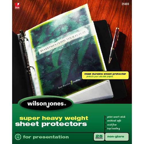 Wilson Jones Super Heavy Weight Sheet Protector, Non-Glare Finish, Letter Size, 25 Sleeves per Box, Clear (W21403) (Protector Clear Finish Sheet)