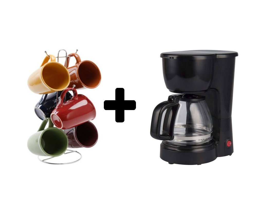 5-Cup Coffee Maker with a removable filter basket in Black + 15 Ounce Mug Pack of 6 with Rack - Bundle Set by Mainstay