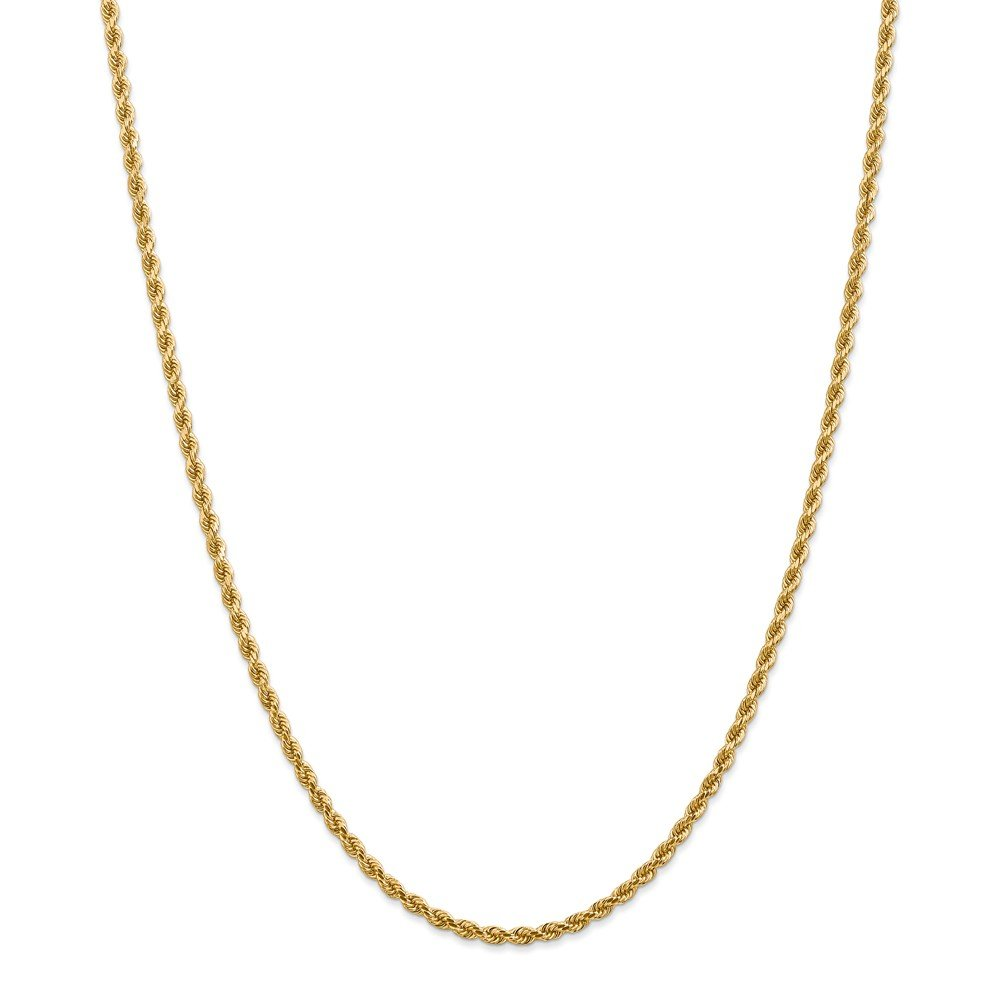 Top 10 Jewelry Gift 14k 2.75mm Diamond-cut Rope with Lobster Clasp Chain