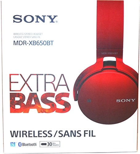 Sony XB650BT Extra Bass Bluetooth Headphones - Stereo - Red - Wireless - Bluetooth - 24 Ohm - 20 Hz - 20 kHz - Over-the-head - Binaural - Circumaural (Certified Refurbished)