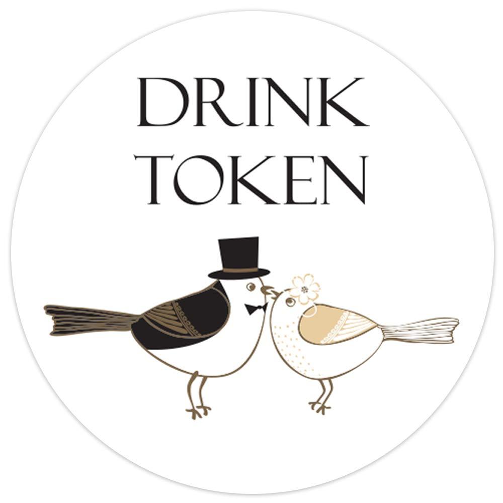 Bride & Groom Love Birds - Drinks Tokens - Pack of 30 The Card Gallery