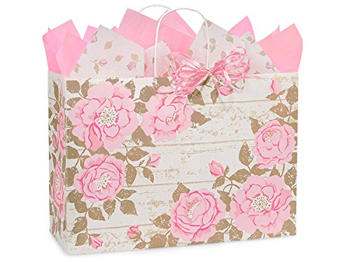 Pack of 250, Vogue 16 x 6 x 12'' Cottage Rose Garden Paper Shopping Bags Made in USA by Generic