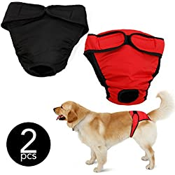 My Dog Underwear | 2 Pcs Unisex Pet Diapers Sanitary Pants | Size M (15.7 - 19.7 Inches) | Premium Absorbent Cotton | Effortless to Put On | Machine Washable | Include Feeding Bowl | Black Red | 861.3