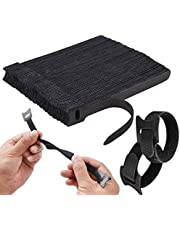 Home-Mart Cable Ties Reusable 50pcs Straps Adjustable Releasable Tidy Wrap Hook and Loop Long Large Strong Black for PC Computer Electronics, 20cmx12mm, Black