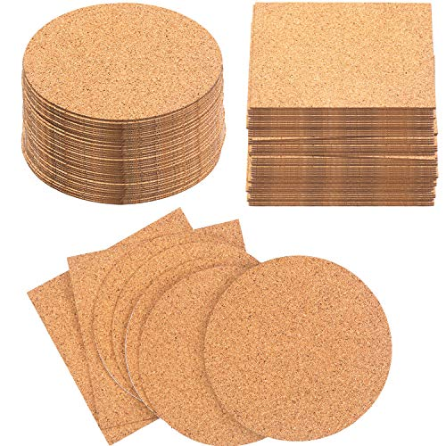 Pangda 100 Pieces SelfAdhesive DIY Coaster Square Cork and Round Cork Backing Sheets Mini Wall Cork Tiles for Coasters and DIY Sticky Crafts 4 x 4 Inch
