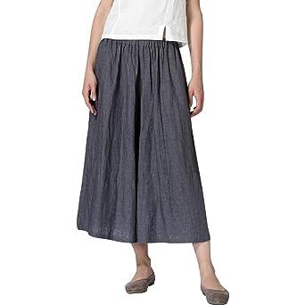 Luckycat Pantalones de Lino para Mujer con Corte Holgado Ideal ...