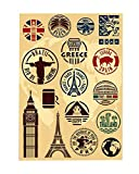 Multi Countries Landmark Travel Luggage Sticker Decals Vinyl for Laptop