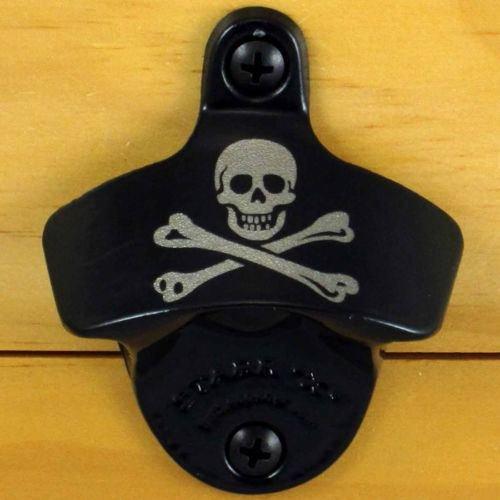 Black Pirate SKULL AND BONES Starr X Wall Mount Bottle Opener