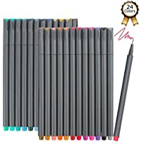 iBayam 24 Colors Fine Tip Colored Writing Drawing Markers Fineliner Pens