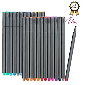 Fineliner Pens, iBayam 24 Colors Fine Tip Colored Writing Drawing Markers Pens Fine Line Point Marker Pen Set for Bullet Journal Planner Note Calendar Coloring Office School Supplies Art Projects