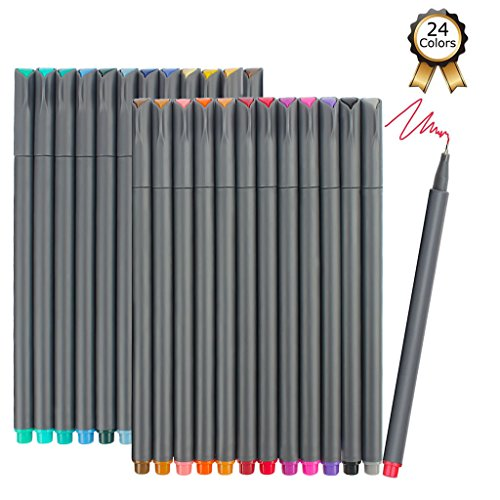 iBayam Fineliner Pens, 24 Colors Fine Tip Colored Writing Drawing...
