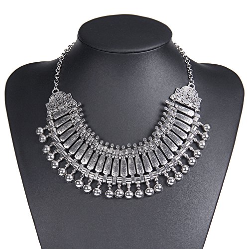 Zhenhui Vintage Necklace Statement Bib Choker Coin Tassels Hippie Boho Festival Tribal (Grey)
