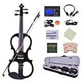ammoon Violin Full Size 4/4 Solid Wood Electric Silent Violin Fiddle Ebony Fingerboard Pegs Chin Rest Tailpiece with Bow Hard Case Tuner Headphones Rosin Extra Strings & Bridge